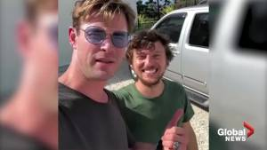 Chris Hemsworth picks up U.S. hitchhiker in Australia, gives him a lift in helicopter