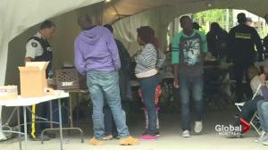 Asylum seekers waiting at Lacolle border