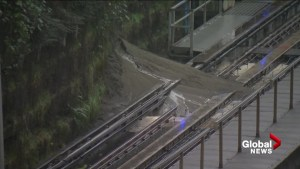 Heavy rain causes mudslide near Vancouver SkyTrain tracks at Commercial-Broadway station