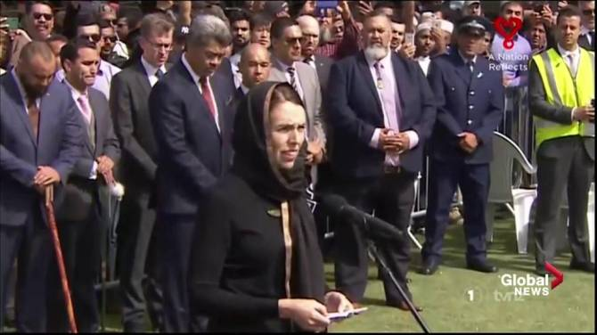 Burj Khalifa displays Jacinda Ardern's face as New Zealand mourns Christchurch shooting victims