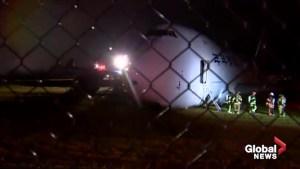Cargo plane goes off runway on landing in Halifax, sending five crew to hospital