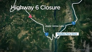 Washout closes Highway 6 in BC, west of Needles Ferry Terminal