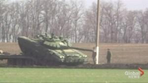 Dozens of Russian tanks deployed close to Ukrainian border