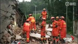 Firefighters survey destruction after deadly earthquake in southern China