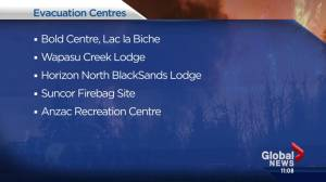 Fort McMurray wildfire: Centres open to evacuees (01:21)