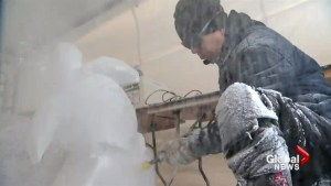 Extreme cold doesn't stop Calgary ice carver from celebrating Lunar New Year