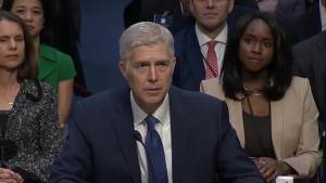 Neil Gorsuch swearing in at confirmation hearing for Supreme Court justice