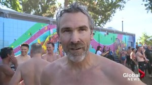 Trevor Linden participates in 'Across the Lake Swim'
