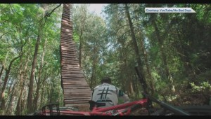 Extreme B.C. mountain biker builds huge bike ramp