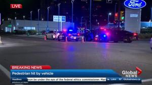Pedestrian hit by vehicle in downtown Calgary on Friday