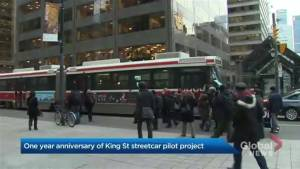 Passengers grade Toronto's King streetcar experiment (02:22)