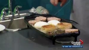 Chartier cooks fried 'bologna' sandwiches in the Global Edmonton Kitchen (2/3)