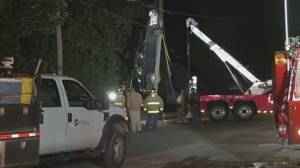 Driver rescued from car stuck in power lines after 'freak accident'