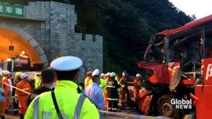 Dozens killed after bus crashes into tunnel wall in China