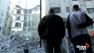 Aftermath of Israeli airstrike on Hamas state TV station in Gaza City