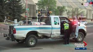 Police arrest driver of allegedly stolen pickup truck in downtown Edmonton