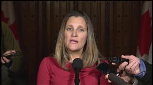 Chrystia Freeland responds to questions about repatriation of Canadian-born ISIS fighters
