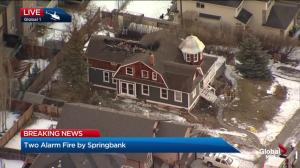 Daylight reveals extent of fire damage to Springbank Hill home