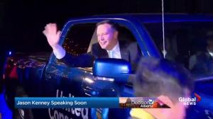 Alberta Election 2019: Jason Kenney greets UCP supporters in pickup truck