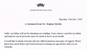Meghan Markle releases statement on father's health