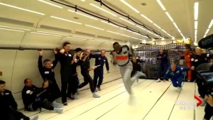 Usain Bolt wins race, sips champagne on zero-gravity flight