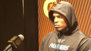 Panthers QB Cam Newton walks out of Super Bowl post-game press conference