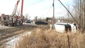 Elderly woman receives minor injuries after crashing car into ditch in Tyendinaga