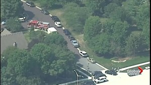 Aerial footage as police respond to shooting at school in Overland Park, KS