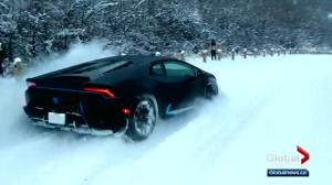 Edmonton man enjoys winter with his Lamborghini