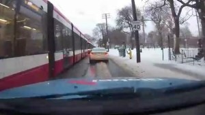 Back log of street cars on Bathurst St. in Toronto after ice storm causes electrical issues