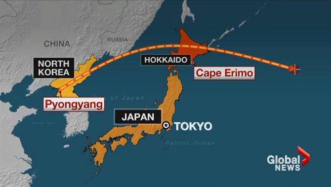 Canada Says Its Gravely Concerned About North Korea Ballistic - Japan map missile