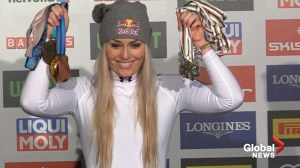"'I just want to chill with my boyfriend and watch some Law & Order"": Vonn wins last race of ski career"