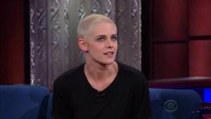 Kristen Stewart addresses Donald Trump tweets on 'Colbert'