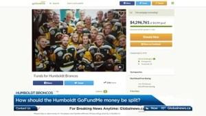 How should the Humbold Broncos GoFundMe money be split?