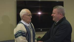 Raw video of emotional first meeting between Vernon grandfather and adult grandson