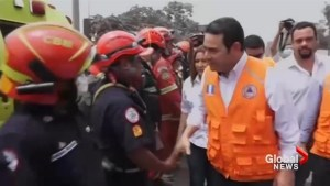 Guatemala president tours damage from earthquake that followed Fuego volcano eruption