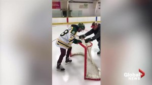 Humboldt Broncos' Layne Matechuk returns to the ice for the first time since the accident