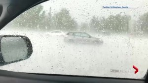 Video shows heavy hail in Calgary's South Glenmore community