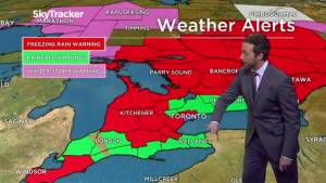 Southern Ontario ice storm transitioning from freezing rain to rain as temperatures rise