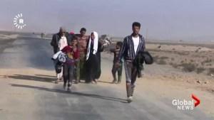 Civilians flee Mosul as Kurdish Peshmerga fighters continue siege against ISIS
