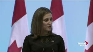 Freeland calls tariffs 'absolutely unacceptable'