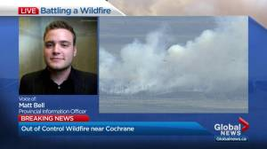 Officials say wildfire likely not a risk to town of Cochrane
