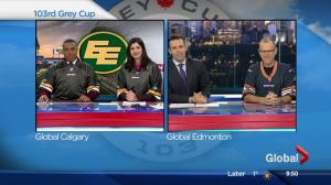 Global Calgary news anchors make good on CFL bet