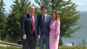 Justin and Sophie Trudeau greet Donald Trump at G7 summit