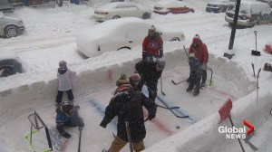 Verdun families build sidewalk ice rink