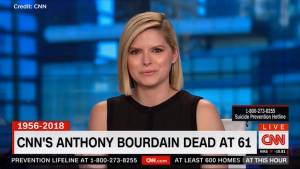 CNN's Kate Bolduan fights back tears as she remembers her colleague Anthony Bourdain