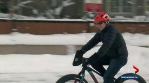 Record snowfall can't stop winter ride-to-work day for Calgary bicyclists