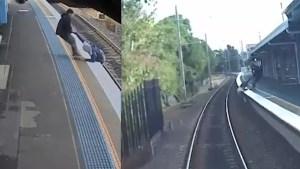 Man rescues pedestrian from tracks as train enters Australian station