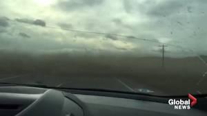 Driver in Alberta surprised by flying gravel in Pincher Creek
