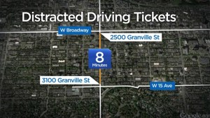 Vancouver police slap two distracted driving tickets to one driver in a matter of minutes
